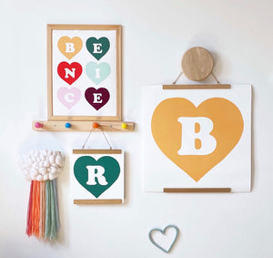 Personalised Heart Initial print in pine green