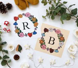 Personalised Floral Initial print in white