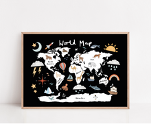 World Map print in black