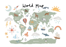 World Map print in white