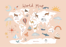 World Map print in pink