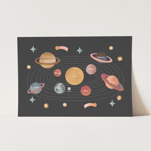 NEW Solar System print in black