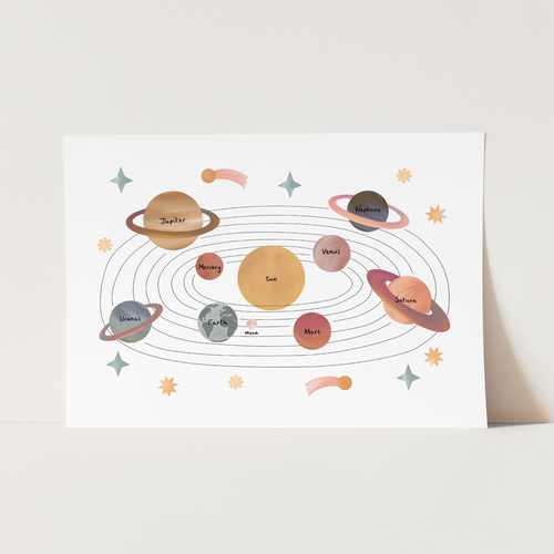 NEW Solar System print in white