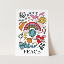 Peace print in white