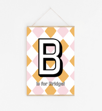 Personalised Initial print in pink and orange