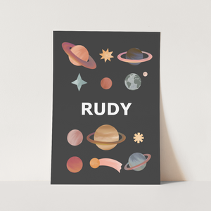 Personalised Name Planets print in black