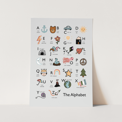 The Alphabet print in grey
