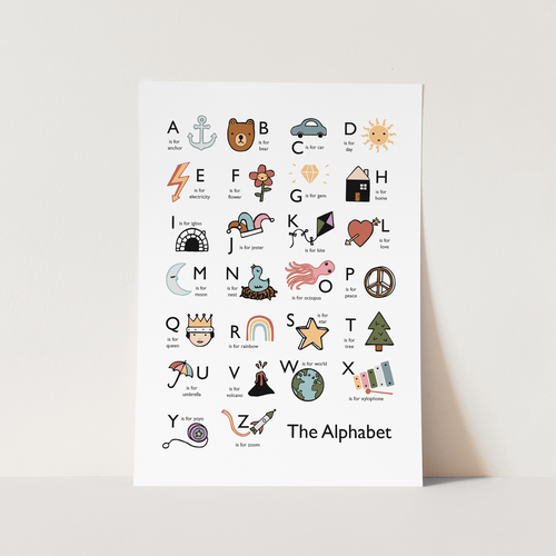 The Alphabet print in white