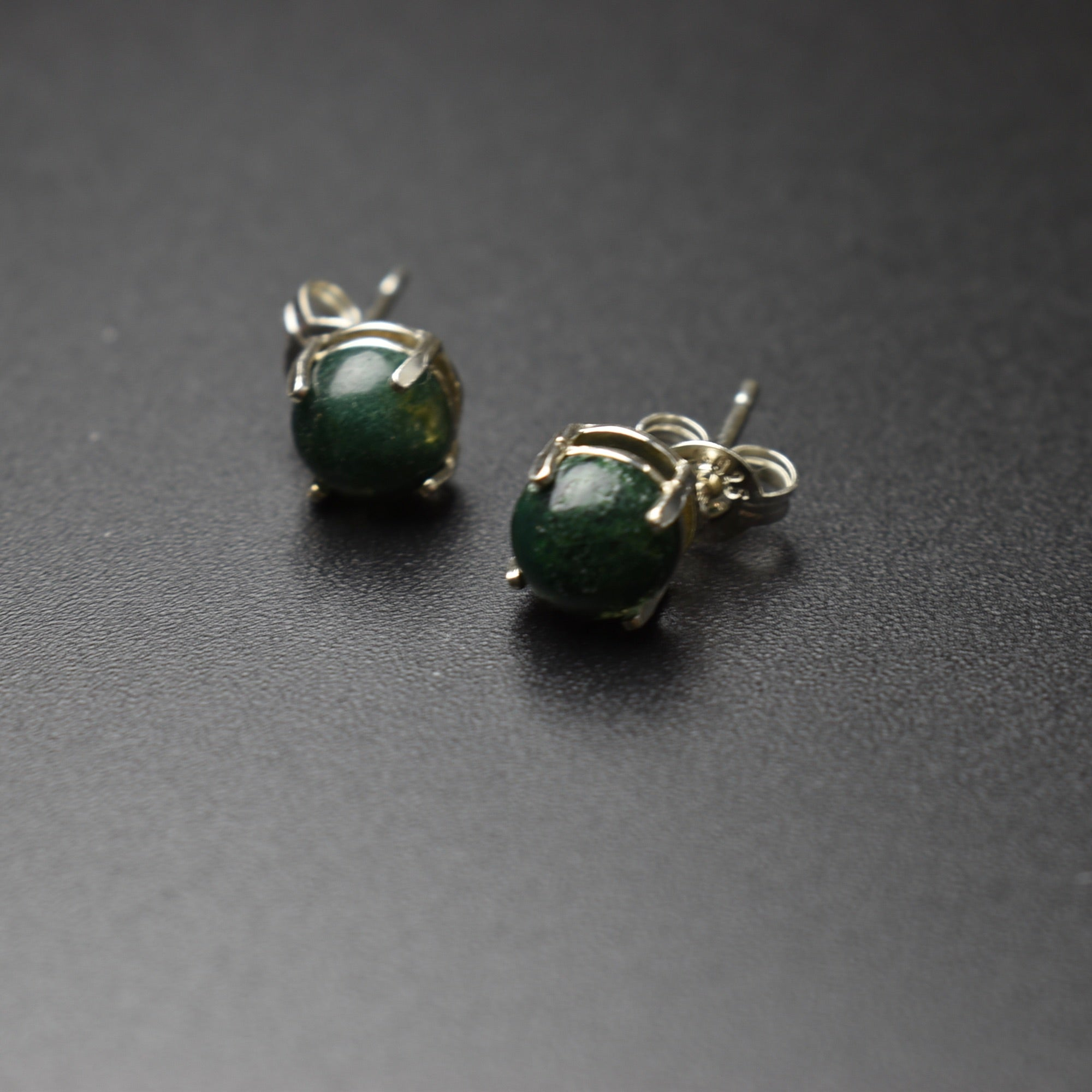 Sterling Silver Green Moss Agate Studs