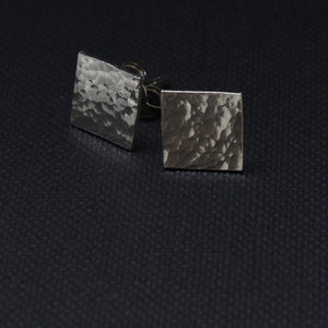 Square Hammered Stud Earrings