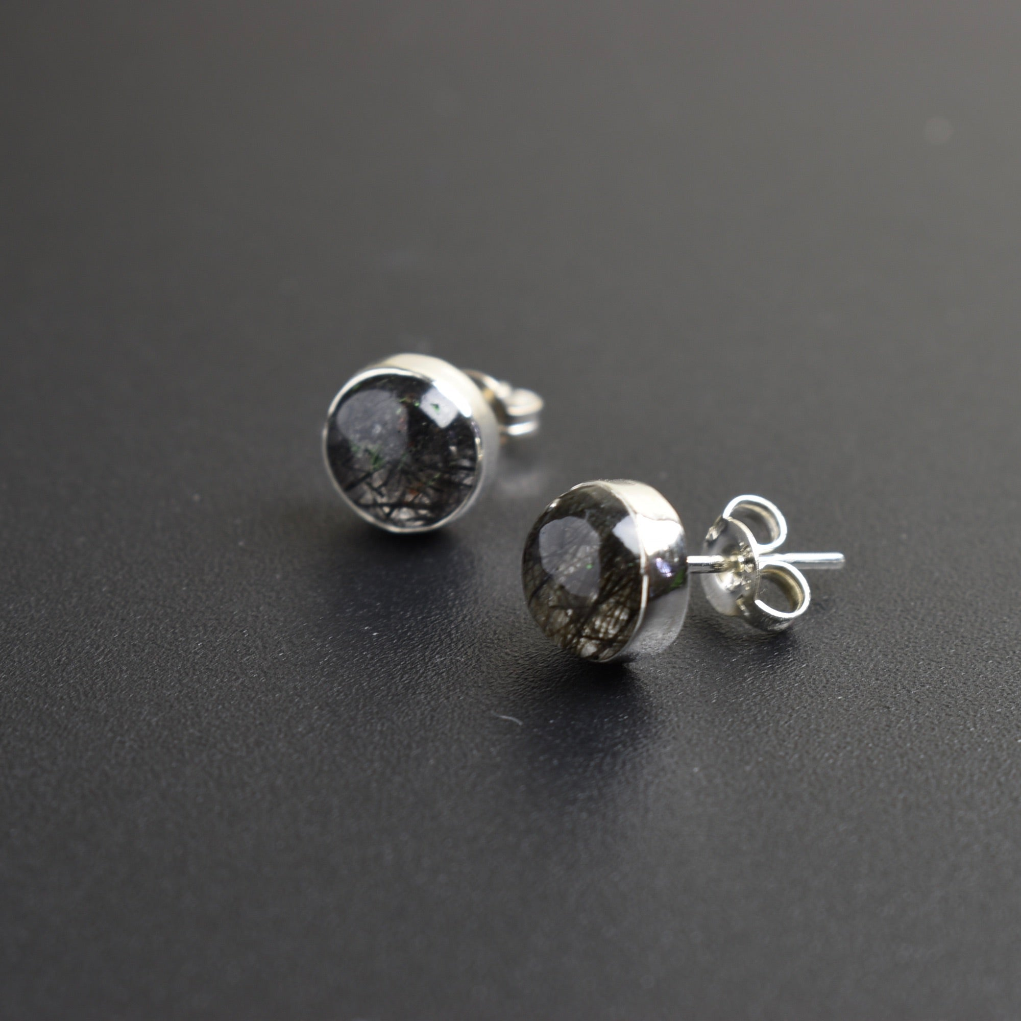 Tourmalinated Quartz Studs
