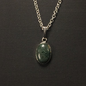 Green Moss Pendant & Chain