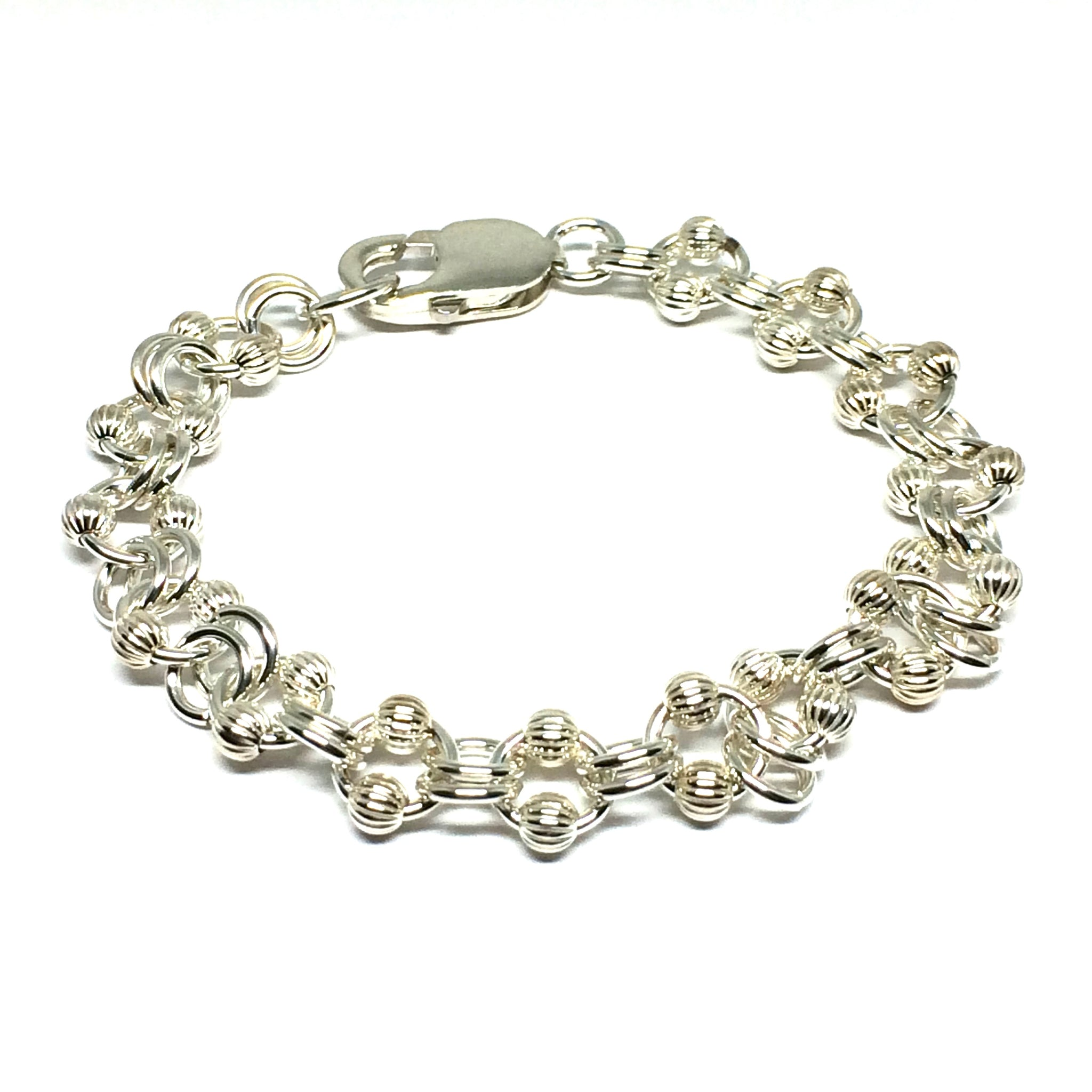 Sterling Silver Corrugated Ball & Chain Bracelet