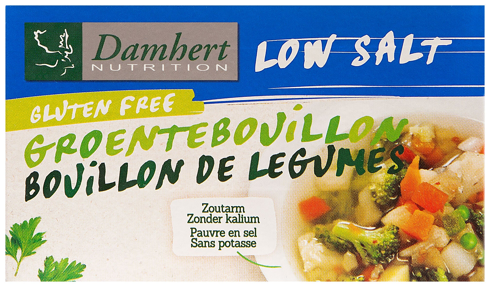 Damhert low salt vegetarian stock cubes gluten free 64g