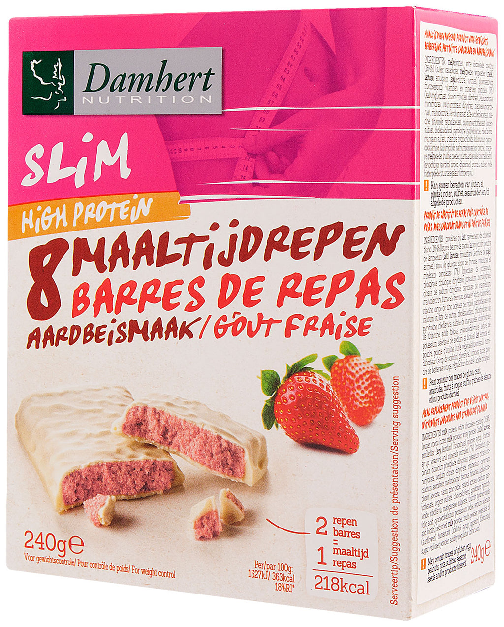 Damhert Slim Protein bar white chocolate & strawberry  high protein