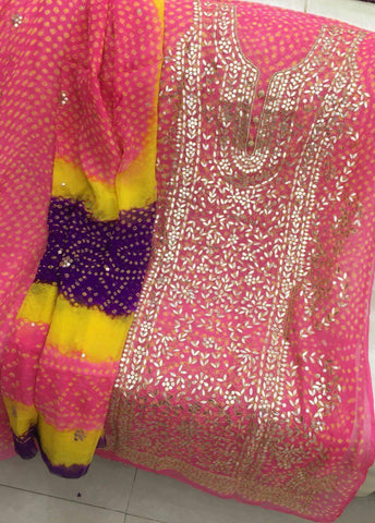 Bright Pink Gota on Chunri Suit (Shaded Dupatta and Pants included)