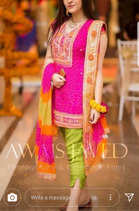 Pink Pure Chiffon Churi Kurta with Chunri Dupatta and Grip Bottom