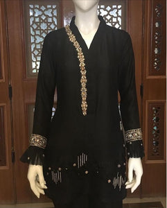 Black Chinese Raw-silk with Hand-crafted Swarovski Neckline, Sleeves & Hem (Pants included)