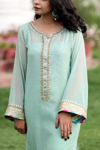 Mint Cotton Net Kurta with Embellished Neckline and Sleeves (Slip and Plain Pants included)