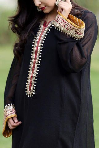 Black Cotton Net Kurta with Embellished Neckline and Sleeves (Slip and Plain Pants included)