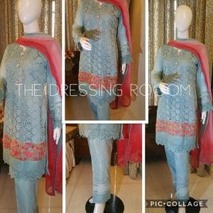 Blue Lace Kurta with Floral Lace and Button Details (Dupatta and Pants included)