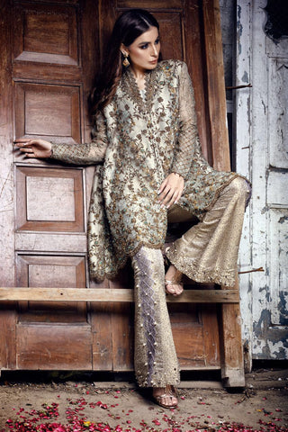 Bronze and Gold Handwork Formal with Bootcut Pants & Crushed Dupatta