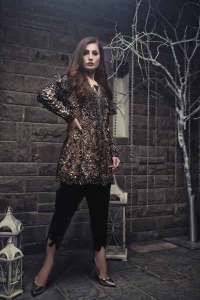 Black and Bronze Formal Wear Kurta with 3D Details & Pearl Embellishment (Pants included)