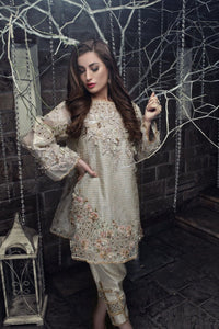 Ivory Formal Organza Kurta with Cut-work, 3D Floral & Intricate Details (Pants included)