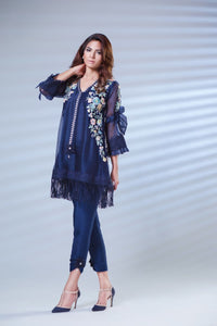 Blue Organza Embroidered Kurta. (Indian Raw-silk Pants included)