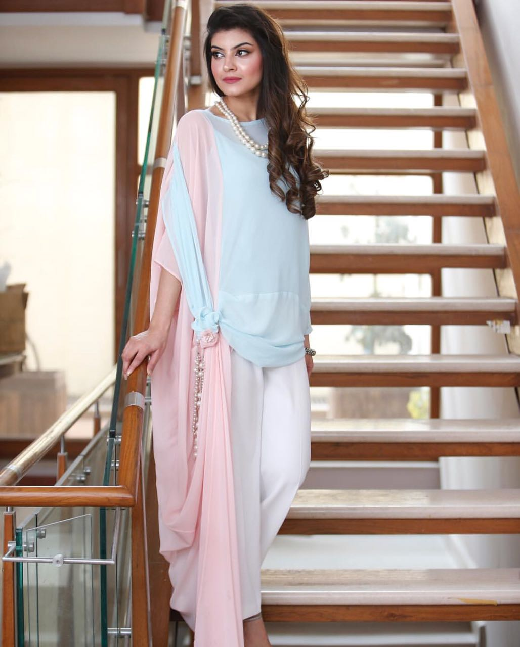 Baby Blue & Pink Chiffon Georgette Embellished Tunic