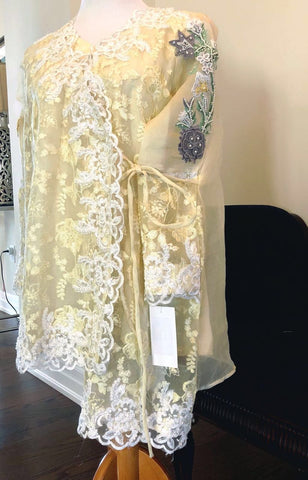 Yellow Organza Embroidered Tunic