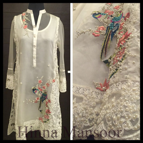 White Organza Embroidered Kurta with Hand-crafted Pearls and Lace Details (Slip and Plain Pants included)
