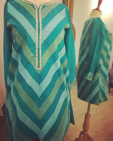 Chevron Pure Raw-silk Color-blocked Tops with Hand-crafted Gota Neckline (Plain Pants included)