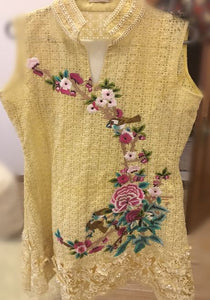 Yellow Tunic with Bright Colored Pattern, Beaded Band and 3 Dimensional Floral Border (Slip and Plain Pants included)