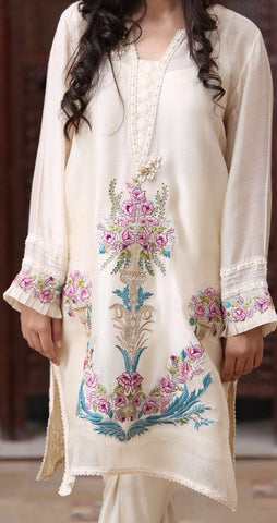 Creme Cotton Net Kurta with Vintage Embroidered Pattern (Plain Pants Included)
