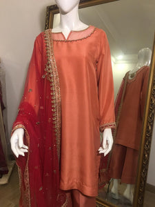 Salmon Pink Pure Raw-silk Formal Wear
