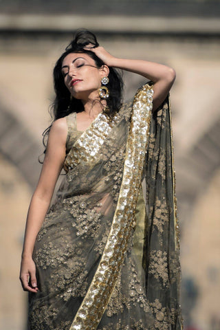 Tan Resham & Sequin Embroidered Net Saree with Sequin Border.