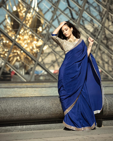 Blue Pure Crepe Saree with Hand-crafted Zardozi Work Border.