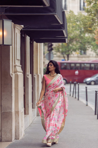 Pure Crepe Floral Saree with Woven Border.