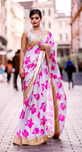 Satin Crepe Floral Saree with Vintage Crochet Border.