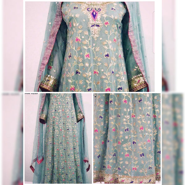 Ash Grey Anarkali with Dull Gold Tila, Purple & Hot Pink Resham and Gota Handwork (Dupatta & Pants included)