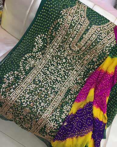Bottle Green Gota on Chunri Suit (Shaded Dupatta and Pants included)