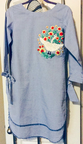 Blue Denim Casual Kurta with Floral Embroidery