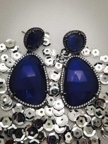 Blue Double Crystal Danglers
