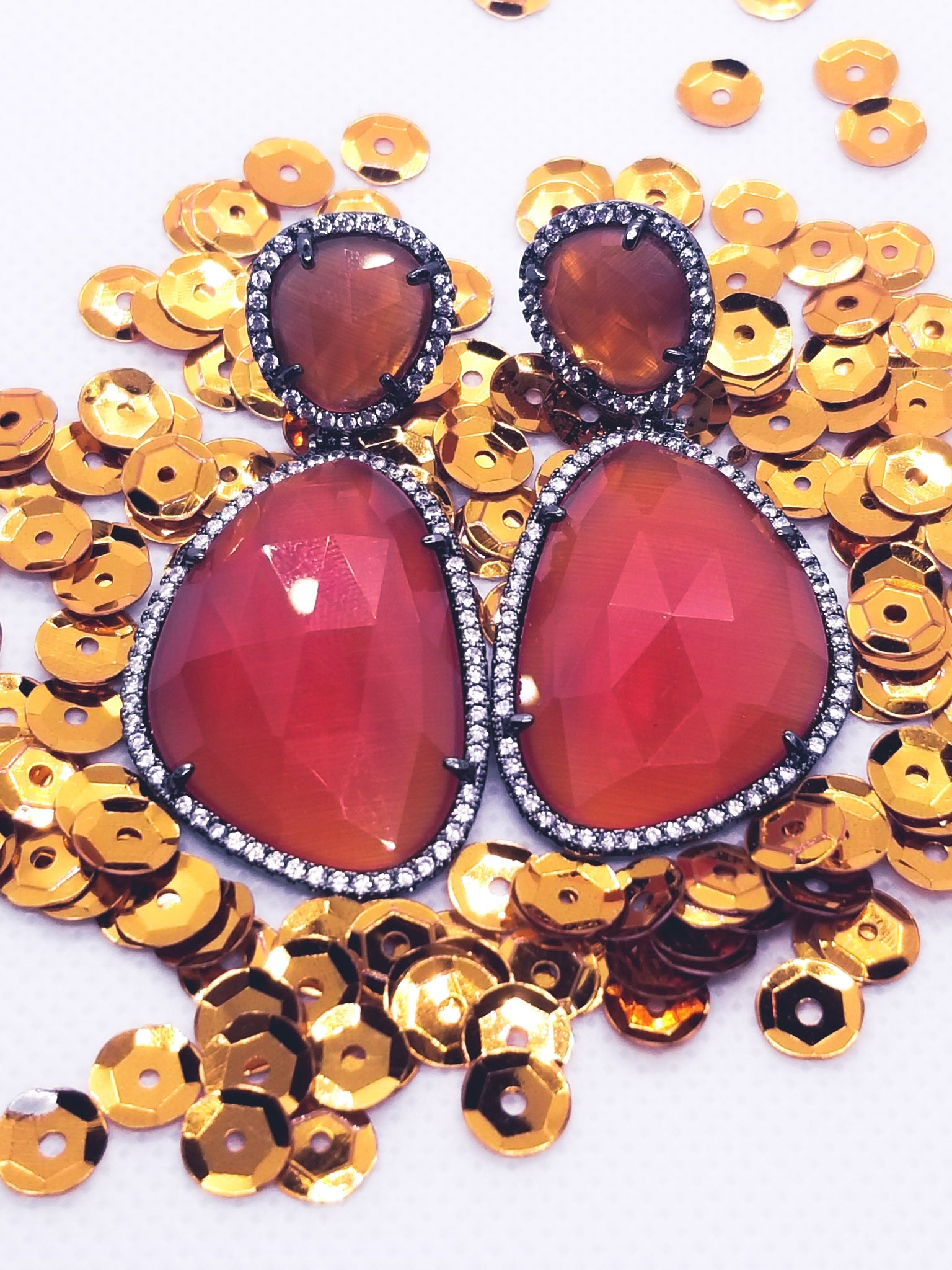 Red Double Crystal Danglers