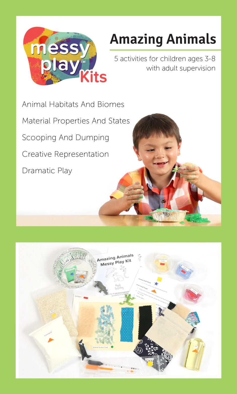Amazing Animals Messy Play Kit Label