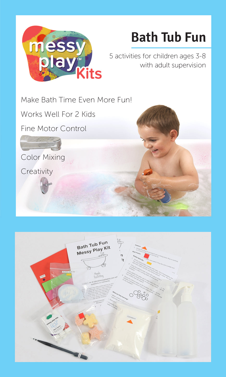 Bath Tub Fun Messy Play Kit Label