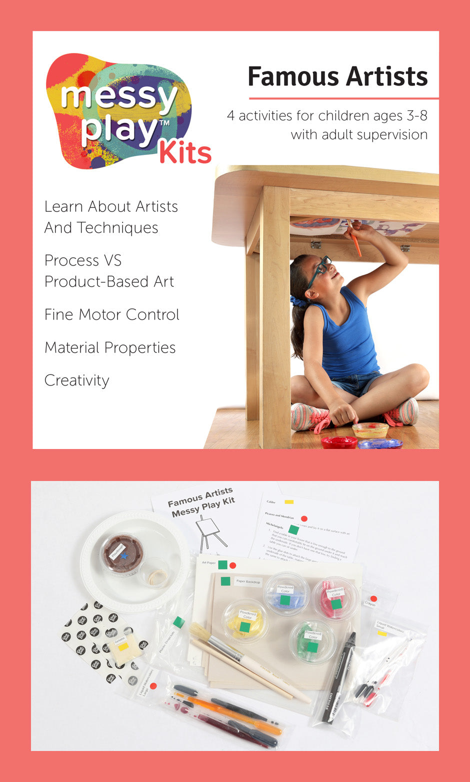 Famous Artists Messy Play Kit Label