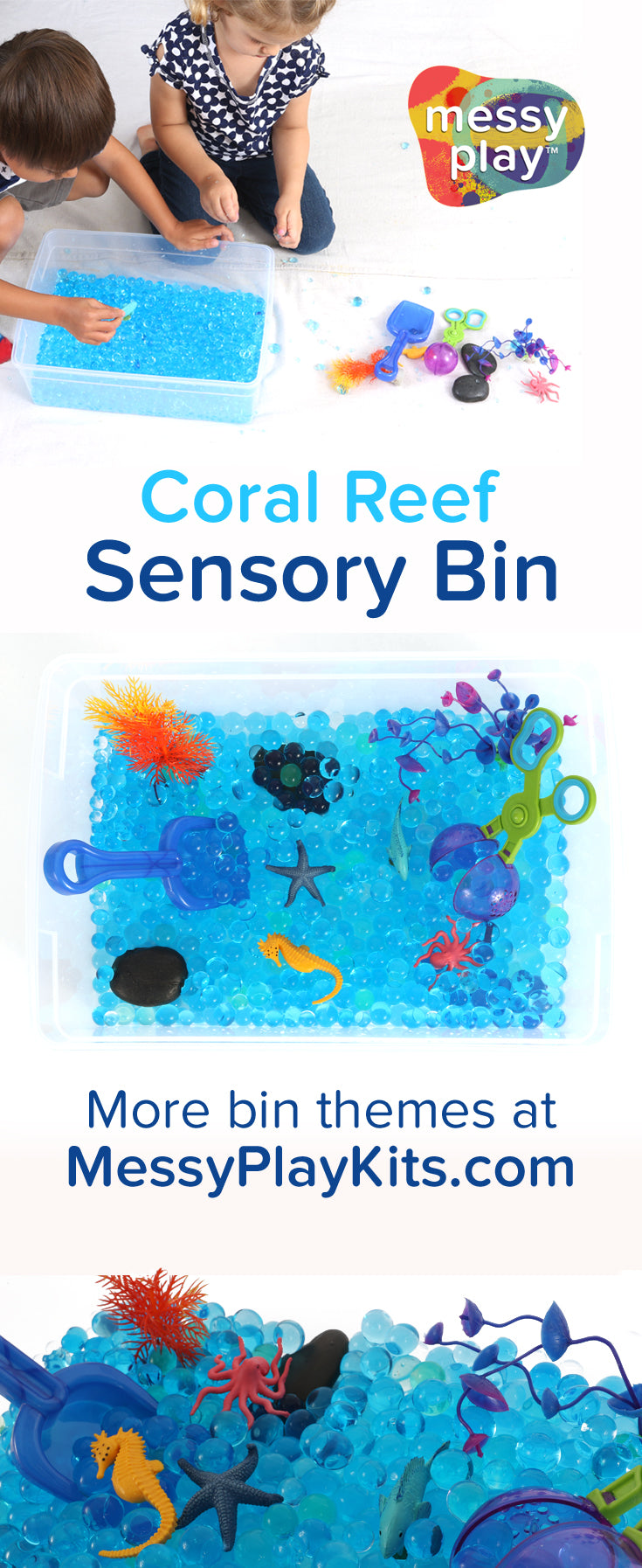Coral Reef Ocean Sensory Bin from Messy Play Kits