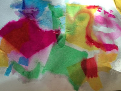 Bleeding tissue paper from the Crazy Colors Messy Play Kit